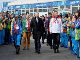 Asia Leaders Stand With Putin at Sochi 2014 Winter Olympics Opening Ceremony